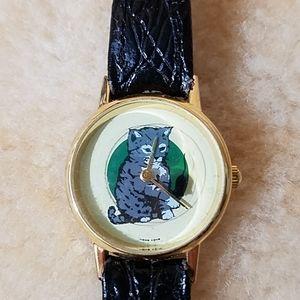 Kitten Watch w/Leather Band